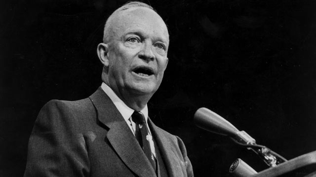 PHOTO: Dwight D Eisenhower the 34th President of the United States of America is seen here making a speech, Nov. 5, 1956.