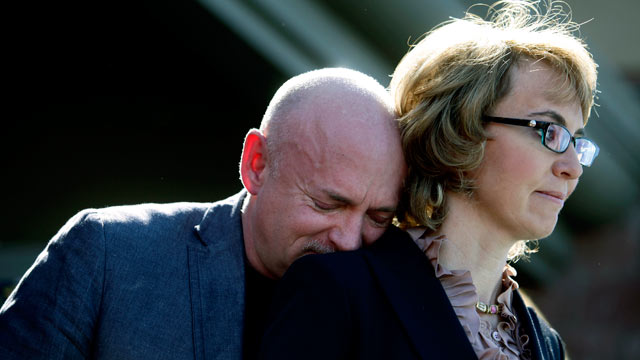 PHOTO: Mark Kelly leans his head on the shoulder of his wife Gabby Giffords as they attend a news conference asking Congress and the Senate to provide stricter gun control in the United States, March 6, 2013, in Tucson, Arizona.