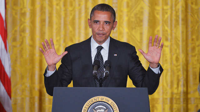 PHOTO: US President Barack Obama speaks during the Presidential Medal of Freedom presentation ceremony May 29, 2012 in the East Room of the White House in Washington, DC.