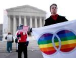 PHOTO: Linda Sanderson holds a rainbow flag outside the U.S. Supreme Court in Washington, D.C., U.S., March 26, 2013.