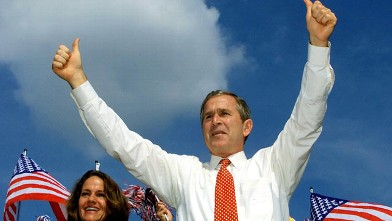 PHOTO: Republican Presidential candidate Texas Governor George W. Bush, waves to the crowd during his campaign speech in West Palm Beach, Florida in this Nov. 5, 2000 file photo.