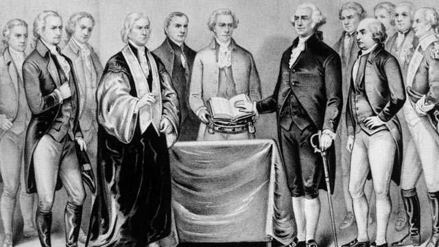 PHOTO: The inauguration of George Washington as the first President of the United States, 1788. Also present are (from left) Alexander Hamilton, Robert R Livingston, Roger Sherman, Mr Otis, Vice President John Adams, Baron Von Steuben and General Henry Kn