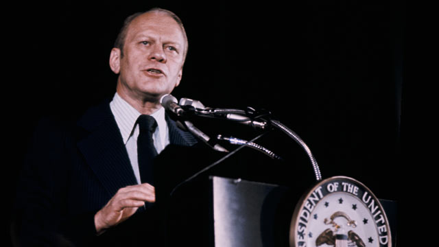 PHOTO: Here is an undated Portrait of Gerald Ford during a press conference, circa 1974.