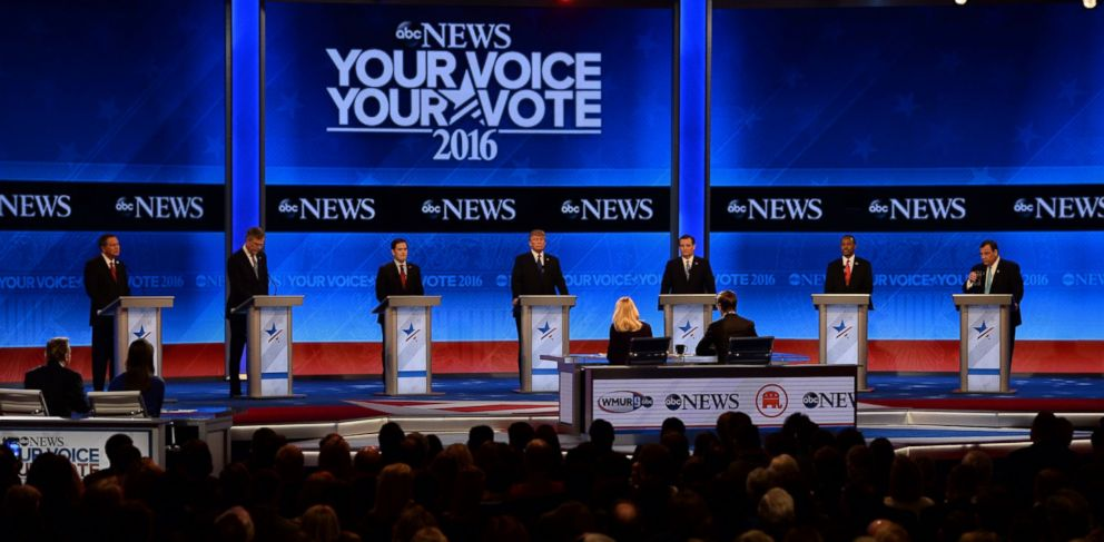 PHOTO: Republican Presidential candidates arrive for the Republican Presidential Candidates Debate on Feb. 6, 2016 at St. Anselms College Institute of Politics in Manchester, New Hampshire.