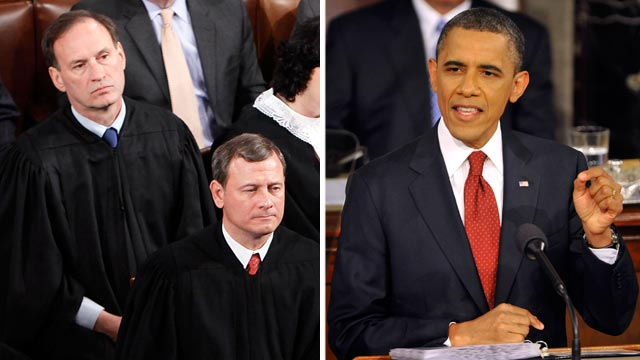 PHOTO: U.S. Supreme Court Justices, left, listen during U.S. President Barack Obama's State of the Union address, right, at the U.S. Capitol on Jan. 27, 2010.