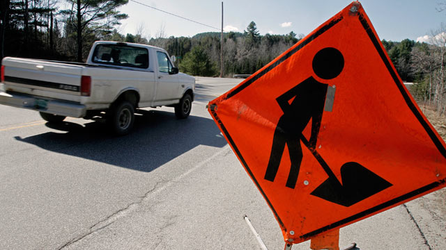 PHOTO: A road work sign sits along Route 2 in East Montpelier, Vt., March 21, 2012.