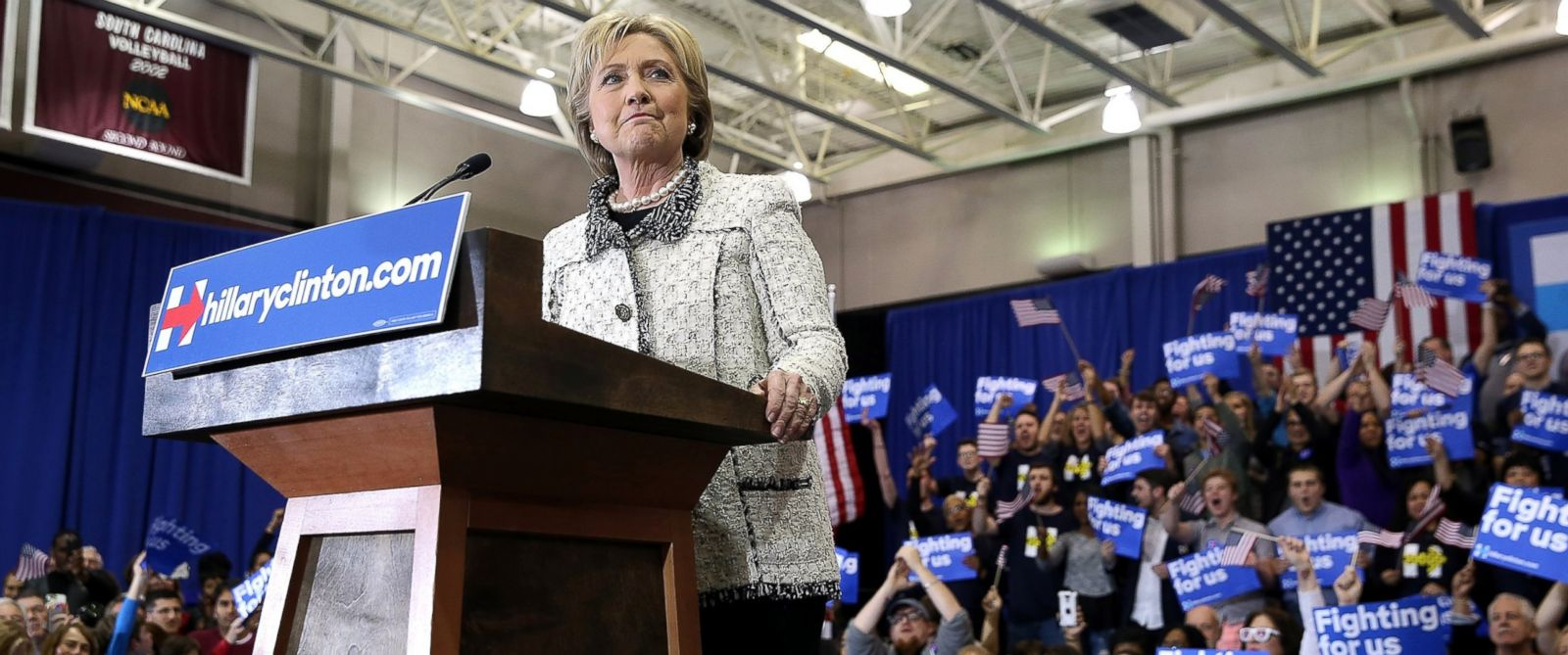 PHOTO: Democratic presidential candidate Hillary Clinton speaks during her primary night gathering at the University of South Carolina on Feb. 27, 2016, in Columbia, South Carolina.