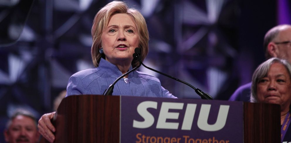 PHOTO: Democratic presidential candidate Hillary Clinton speaks at the Service Employees International Union 2016 International Convention in Detroit, Michigan, May 23, 2016.