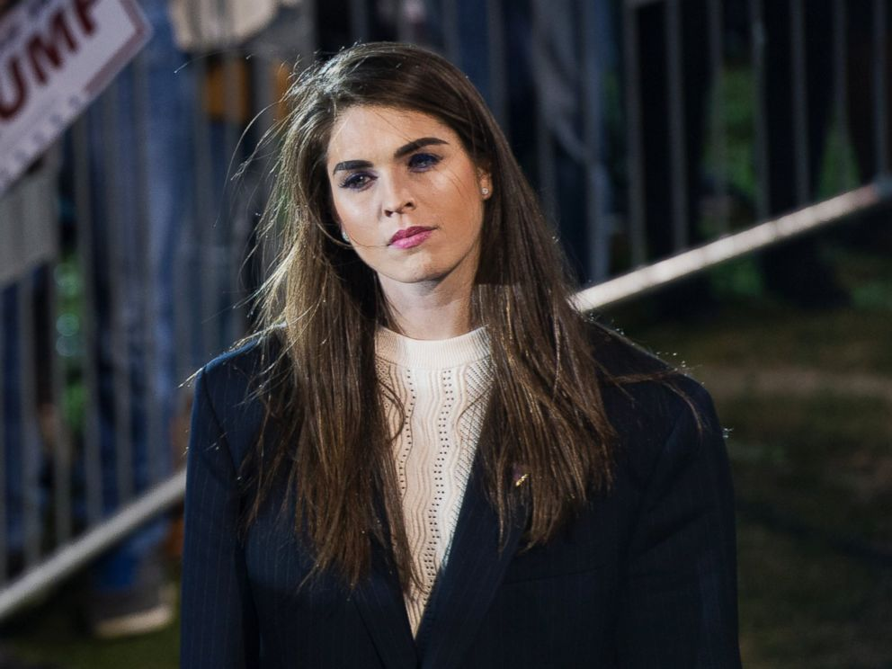 PHOTO: Hope Hicks, communications aide for Republican presidential candidate Donald Trump, attends a campaign rally at Madison City Schools Stadium in Madison, Ala., Feb. 28, 2016.