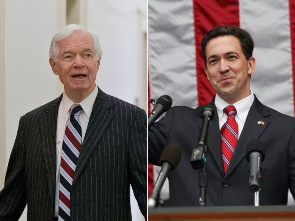 PHOTO: Sen. Thad Cochran, left, ranking Republican on the Senate Agriculture Committee, on Dec. 4, 2013, on Capitol Hill and Chris McDaniels, right in an undated photo from his website.