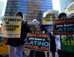 PHOTO: Immigrant rights and Latino groups activists stage a protest in front of New York Democrat Senator Chuck Schumers office to highlight his positions on immigration, in New York, April 2, 2013.