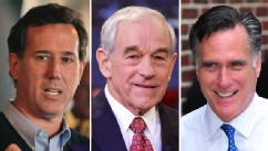 PHOTO: Republican presidential candidates Rick Santorum, Ron Paul, and Mitt Romeny, are shown.
