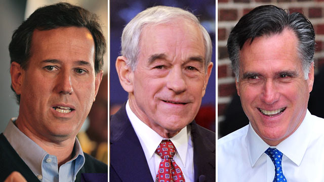 PHOTO: Republican presidential candidates Rick Santorum, Ron Paul, and Mitt Romeny, are shown.