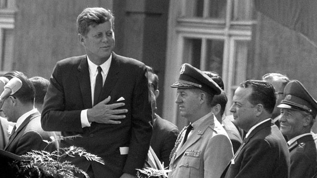"PHOTO: Then US President John F Kennedy gives a speech at the Schoeneberg city hall in Berlin, where he said his famous German sentence ""Ich bin ein Berliner"" (I am a Berliner) to underline the support of the United States for West Germany and his empathy"