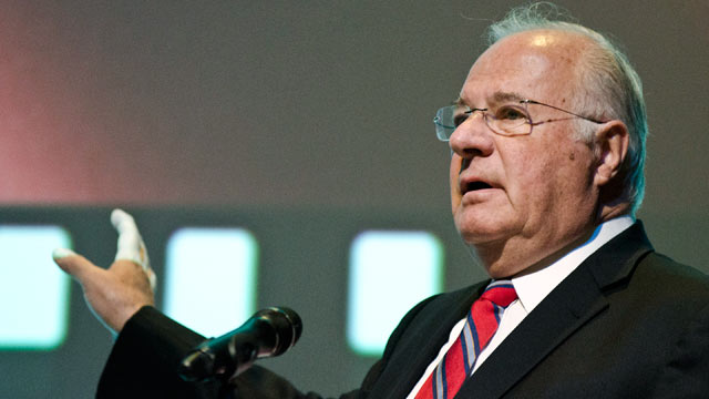 "PHOTO: Joe Ricketts speaks during the premiere of ""The Conspirator"" presented by The American Film Company, Fords Theatre and Roadside Attractions at Fords Theatre on April 10, 2011 in Washington, DC."