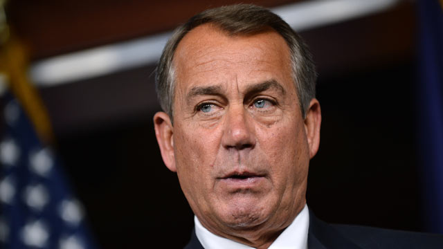 PHOTO: House Speaker John Boehner, R-Ohio, speaks during a press conference following President Barack Obamas visit to meet with the House Republican Conference in Washington, D.C., on March 13, 2013.
