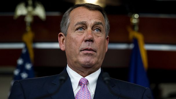 PHOTO: Speaker of the House, John Boehner, R-Ohio. holds his weekly on-camera press briefing with the press in the U.S. Capitol on July 11, 2013.