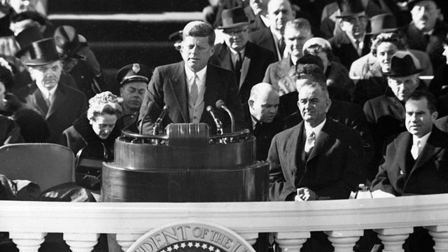 PHOTO: President John F. Kennedy delivering his inauguration speech, Jan. 20, 1961.