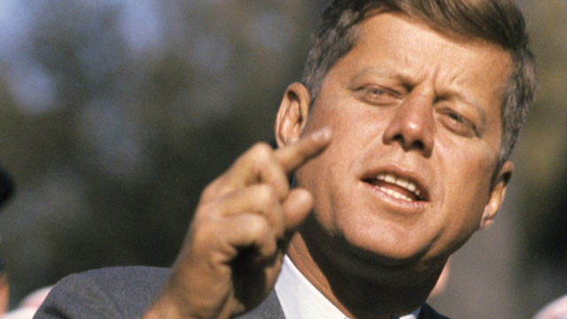 PHOTO: Senator John F. Kennedy of Mass., delivers a campaign speech, Oct. 25, 1960 in St. Charles, Illinois.