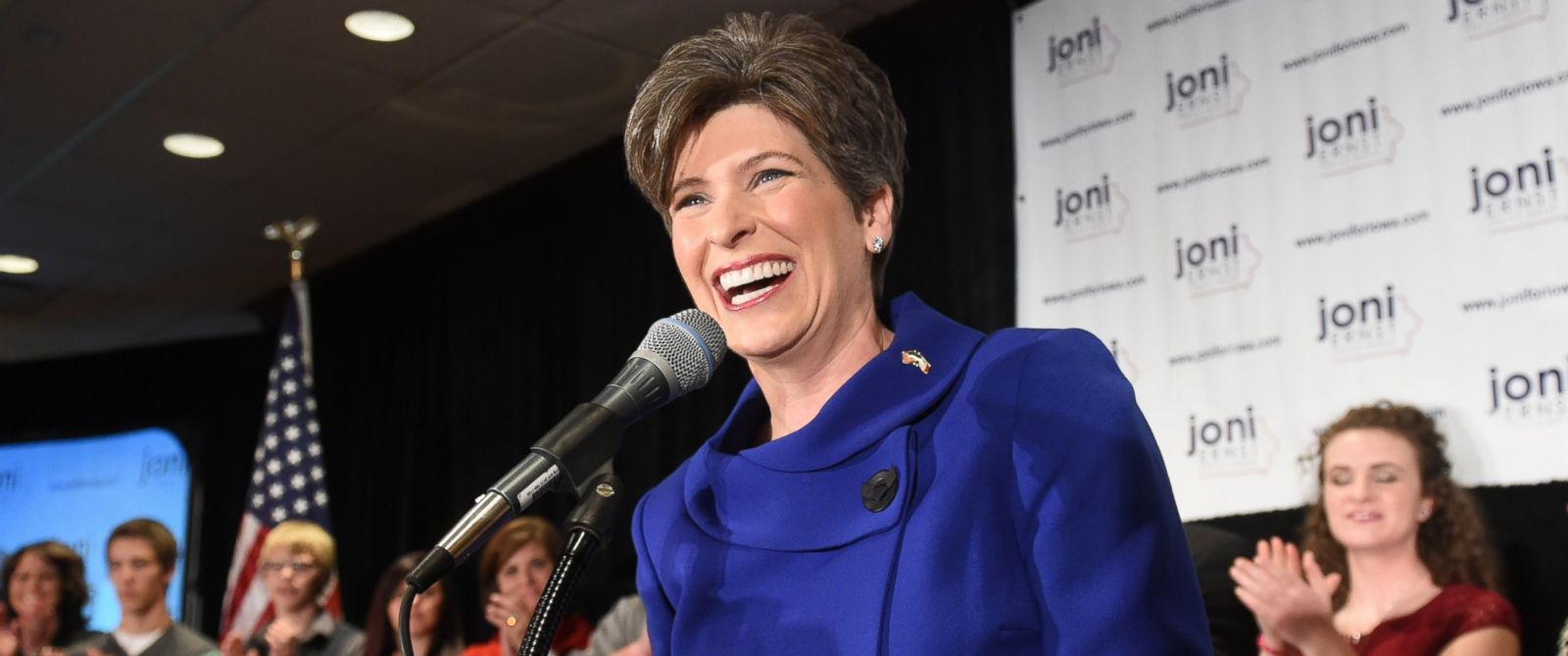 PHOTO: Newly elected Iowa Republican Senator Joni Ernst celebrates during her election night celebration party, in this Nov. 4, 2014, file photo, in West Des Moines, Iowa.