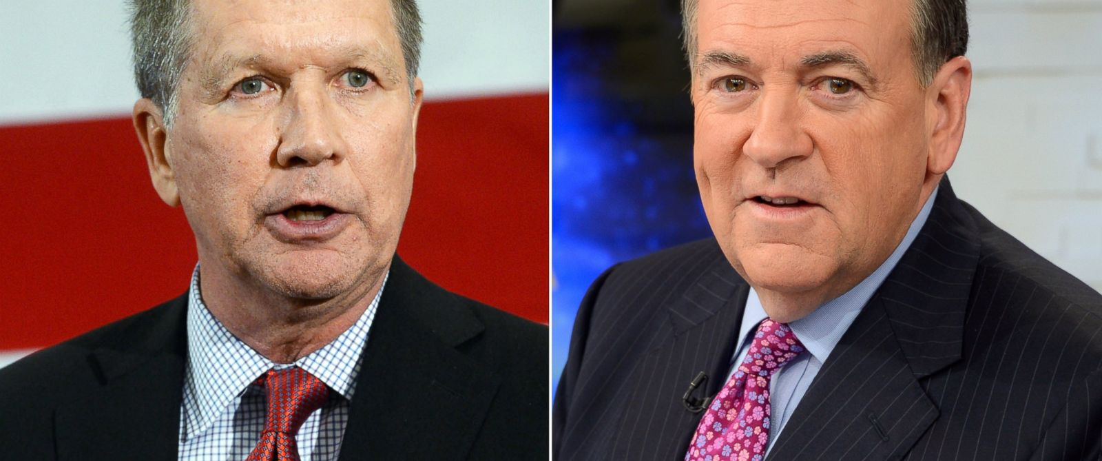 """PHOTO: John Kasich speaks at an event in Nashua, N.H. on April 18, 2015 and Mike Huckabee appears on """"Good Morning America"""" on May 6, 2015."""