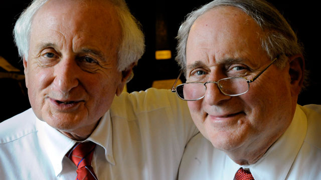 PHOTO: Congressman Sander Levin, left, and Senator Carl Levin are together while being interviewed for a story in this March 26 2010 file photo in Washington, DC.