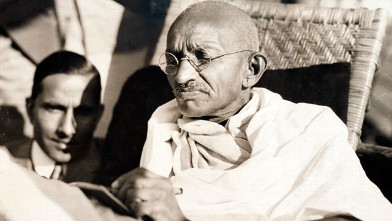 PHOTO: Mahatma Gandhi on board the SS Rajputanaa­, 1931.