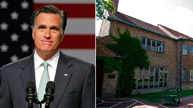 PHOTO: Mitt Romney speaks during a campaign stop at Lansing Community College, left, and Stevens Hall, where Mitt Romney lived while he was attending Cranbrook School.