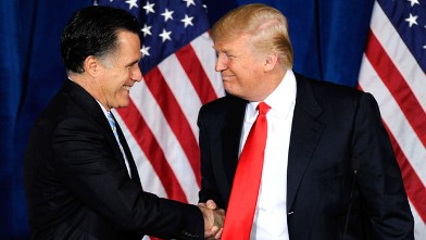 PHOTO: Republican presidential candidate, former Massachusetts Gov. Mitt Romney and Donald Trump shake hands during a news conference held by Trump to endorse Romney for president, Feb. 2, 2012 in Las Vegas, Nevada.