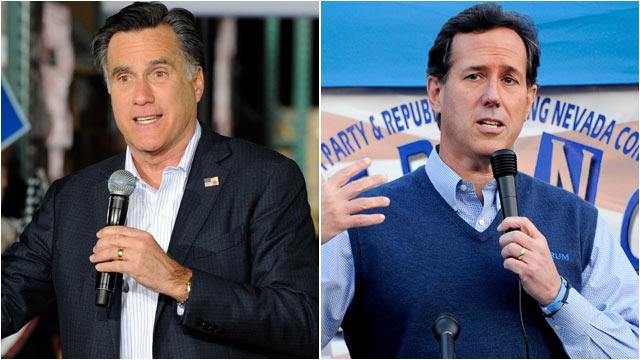 PHOTO: Former Mass. Gov. Mitt Romney speaks during a campaign rally at Brady Industries Feb. 1, 2012 in Las Vegas, Nevada. | Former U.S. Sen. Rick Santorum speaks during a town hall meeting, Jan. 31, 2012 in Las Vegas, Nevada.