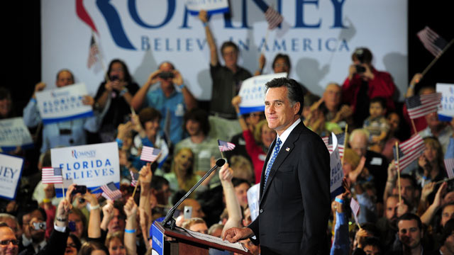 PHOTO: Republican presidential hopeful Mitt Romney addresses a primary election night event in Tampa, Florida, January 31, 2012 after trouncing main rival Newt Gingrich in Floridas Republican primary.