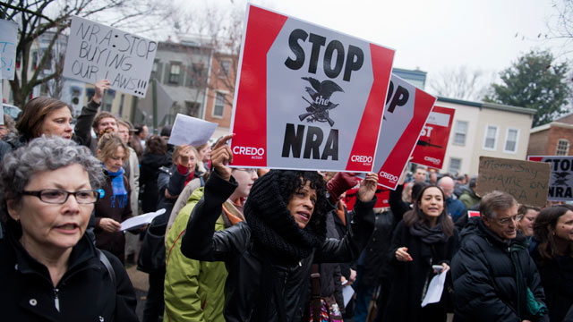 PHOTO: A protest organized by CREDO, outside of the National Rifle Associations office on First St., SE. The event was organized to criticize NRA policies in the wake of the mass shooting at Sandy Hook Elementary School in Newtown, Conn.