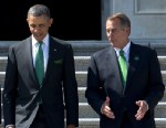 PHOTO: President Barack Obama is escorted by U.S. Speaker of the House John Boehner while leaving the Capitol, March 19, 2013, in Washington.