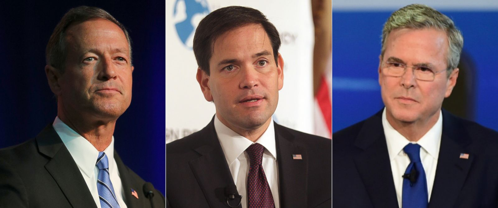 PHOTO: Pictured from left, Martin OMalley, Marco Rubio and Jeb Bush.