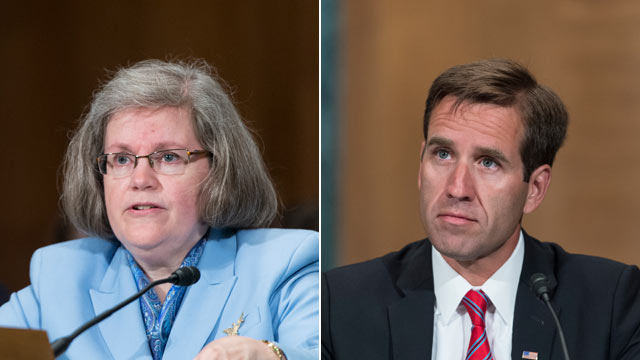 """PHOTO: Holly Petraeus, left, and Beau Biden, right, testify during the Senate Banking, Housing and Urban Affairs Committee hearing on """"Empowering and Protecting Servicemembers, Veterans and their families in the Consumer Financial Marketplace: A Status Up"""