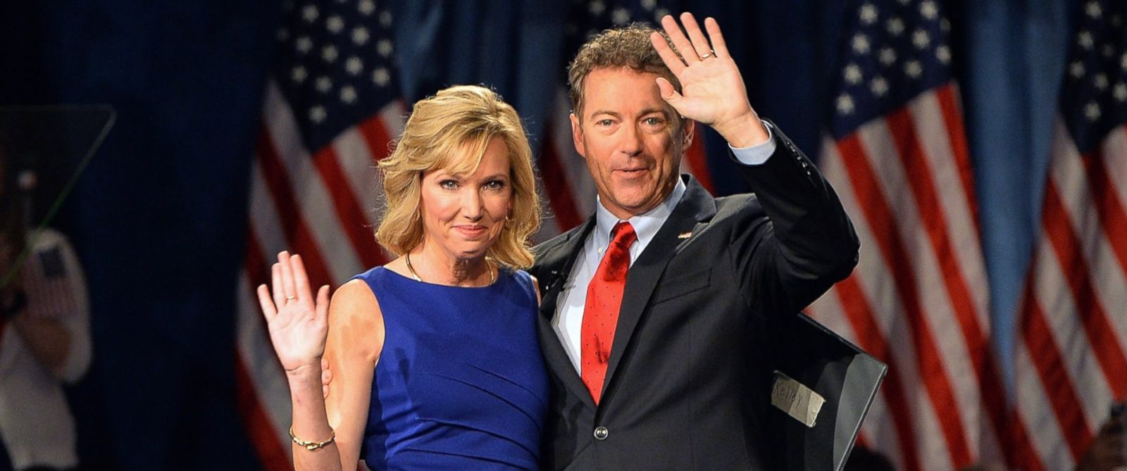 PHOTO: Rand Paul greets the crowd with his wife, Kelley Paul, prior to speaking to supporters on April 7, 2015 in Louisville, Ky.