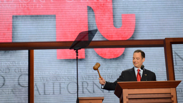 PHOTO: Republican National Committee Chairman Reince Priebus gavels open the RNC convention at the Tampa Bay Times Forum in Tampa, Florida, Aug. 28, 2012.