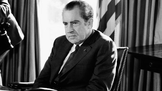PHOTO: President Richard Nixon sits at his desk in the oval office of the White House, Sept. 16, 1974.