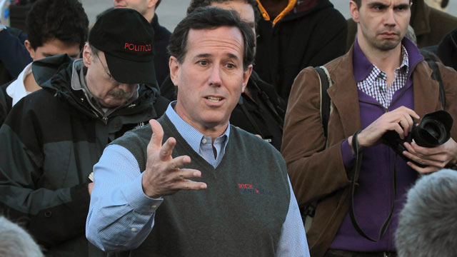 PHOTO: Republican presidential candidate former U.S. Senator Rick Santorum (R-PA) speaks outside the Pella Public Library during a campaign stop, Pella, Iowa, Dec. 31, 2011.