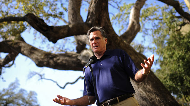PHOTO: Republican presidential hopeful Mitt Romney addresses a press conference after he visited his campaign headquarter in Tampa, Florida, January 31, 2012. Florida holds its Republican primary on January 31, 2012.