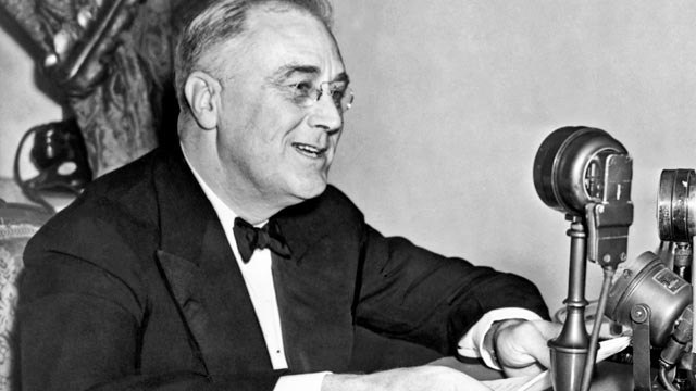 PHOTO: President Franklin D. Roosevelt speaks during one of his fireside chats, Washington DC, 1937.
