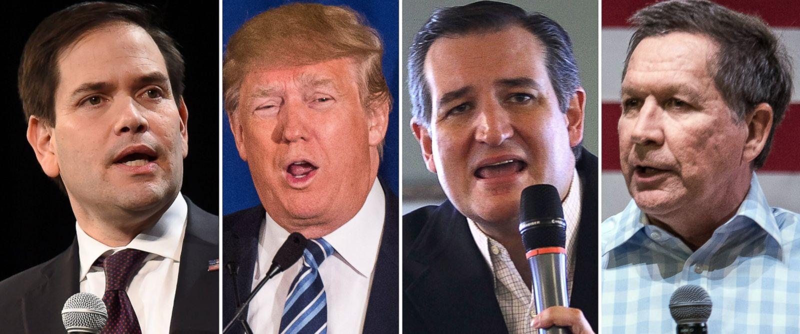 PHOTO: Marco Rubio speaks in Nevada, Feb. 21, Donald Trump speaks in South Carolina, Feb. 18, 2016, Ted Cruz speaks in South Carolina, Feb. 17, and John Kasich speaks in South Carolina, Feb. 18, 2016.
