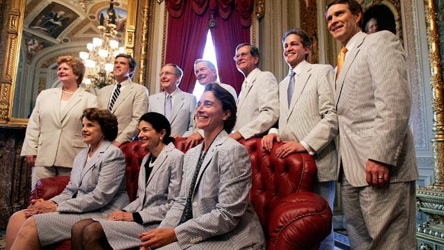 PHOTO: From left, Sen. Debbie Stabenow (D-MI), Sen. Gordon Smith (R-OR), Senate Majority Whip Sen. Mitch McConnell (R-KY), Sen. Christopher Bond (R-MO), Sen. Trent Lott (R-MS), Sen. Norm Coleman (R-MN), Senate Majority Leader Sen. Bill Frist (R-TN), Sen.