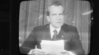 PHOTO: Richard Nixon announces his resignation on national television, following the Watergate scandal, August 8, 1974.