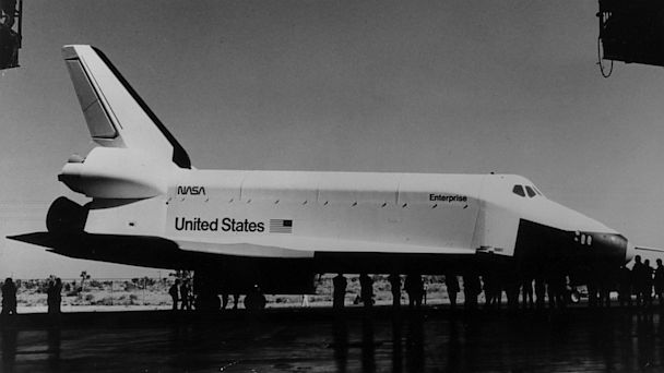 PHOTO: Space shuttle Orbiter 101 Enterprise is seen during rollout activity at the Rockwell International Space Divisions Orbiter manufacturing facility in Palmdale, Calif., Dec. 15, 1976.