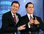 PHOTO: Stephan Colbert poses for photos with his wax figure at the Stephen Colbert wax figure unveiling at Madame Tussauds, Nov. 16, 2012 in Washington, DC.