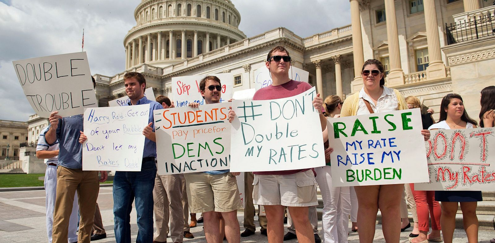 PHOTO: Interns from around the city protest near the Senate steps to urge the Senate to act on a House passed bill, Smarter Solutions for Students Act, which would prevent student loan interest rates from doubling.