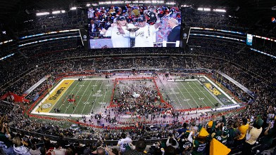 PHOTO: The Green Bay Packers celebrate defeating the Pittsburgh Steelers 31 to 25 in Super Bowl XLV at Cowboys Stadium, Feb 6, 2011 in Arlington, Texas.