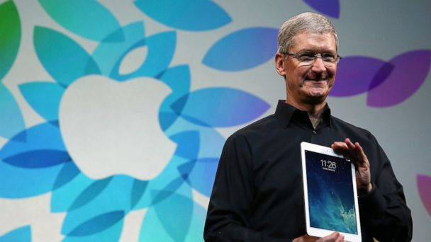 PHOTO: Apple CEO Tim Cook holds the new iPad Air during an Apple announcement at the Yerba Buena Center for the Arts on October 22, 2013 in San Francisco, Calif.