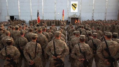 PHOTO: American soldiers stand at attention, Sept. 11, 2011 at Bagram Air Field, Afghanistan.